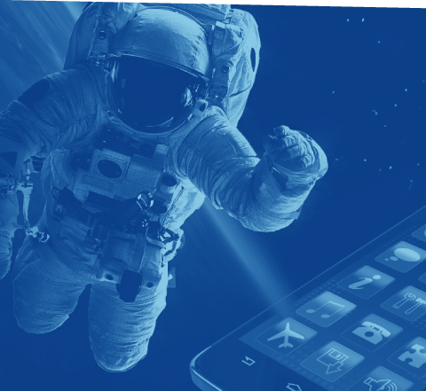 collage of test tubes, floating astronaut and smartphone