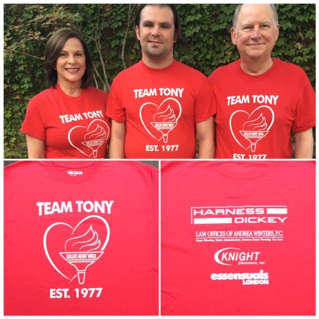 Dallas IP firm Harness IP is proud to sponsor Heart Walk Team Tony