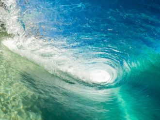 image of curling wave to evoke connection between endless summer and endless litigation