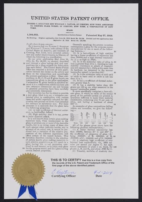 Image of a Presentation Copy, AKA Presentation Patent