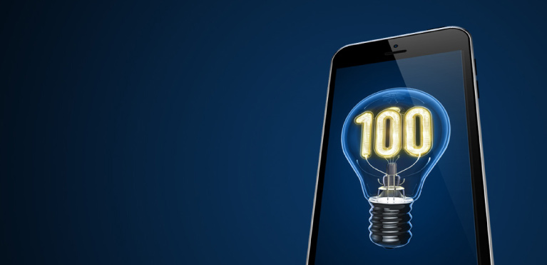 smartphone showing a lightbulb with 100 on it